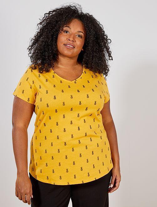 Tee-shirt en coton col V                                                                                                                 JAUNE Grande taille femme