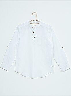 Tee-shirt en coton et lin col mao