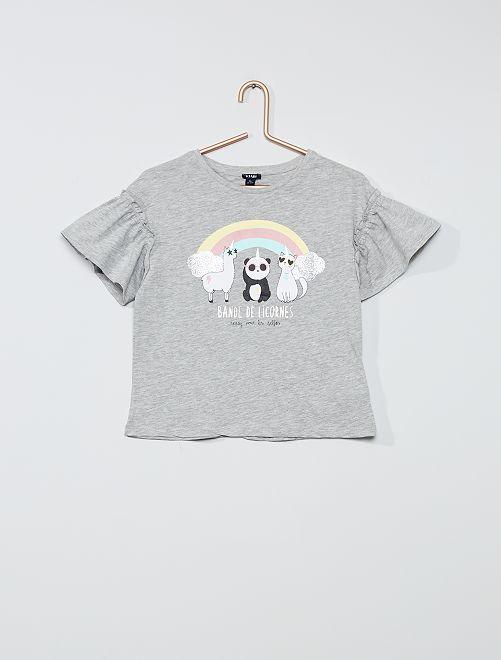 Tee-shirt en coton 'licorne'                                                                     GRIS