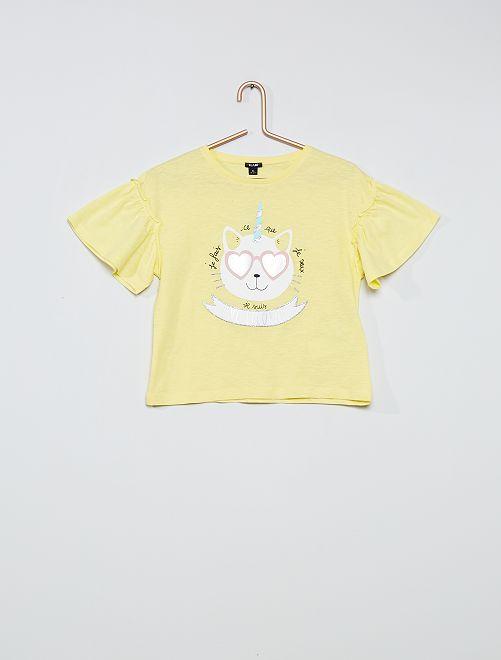 Tee-shirt en coton 'licorne'                                                     jaune chat