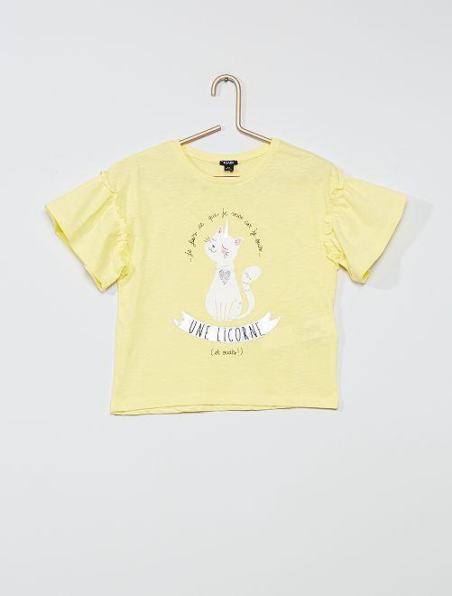 Tee-shirt en coton 'licorne'                                                                                         jaune