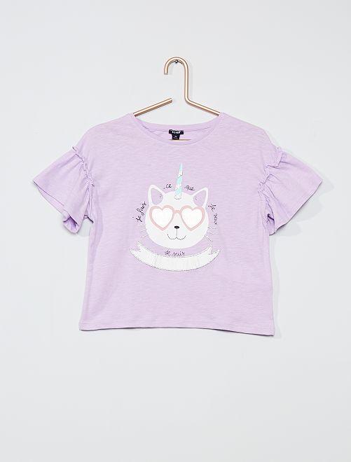 Tee-shirt en coton 'licorne'                                                                     mauve