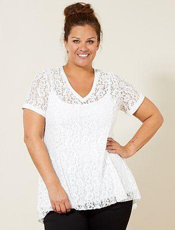 Grande taille femme - Tee-shirt en dentelle - Kiabi