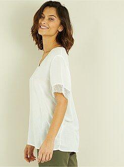 T-shirt, débardeur taille 38 - Tee-shirt en macramé - Kiabi