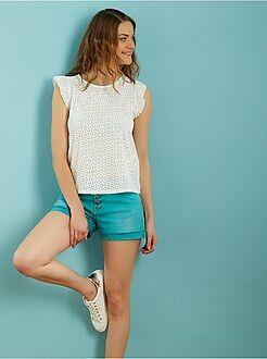 Femme du 34 au 48 Tee-shirt en maille ajourée manches volantées