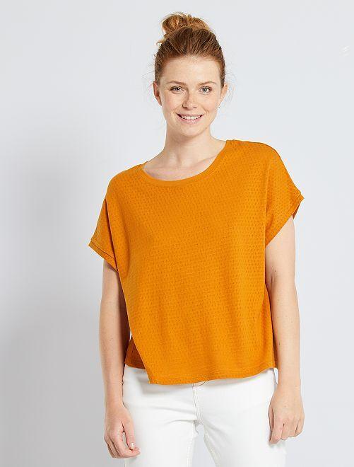 Tee-shirt en maille ajourée                                         marron