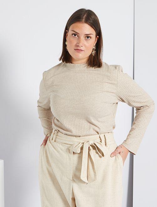 Tee-shirt en maille côtelée                                         beige chiné