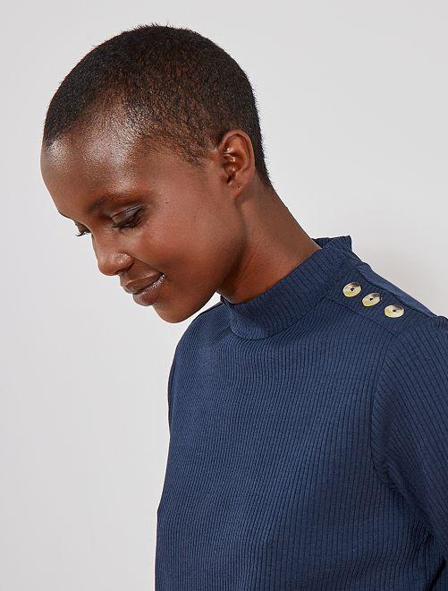 Tee shirt en maille côtelée                                                                             bleu marine Femme
