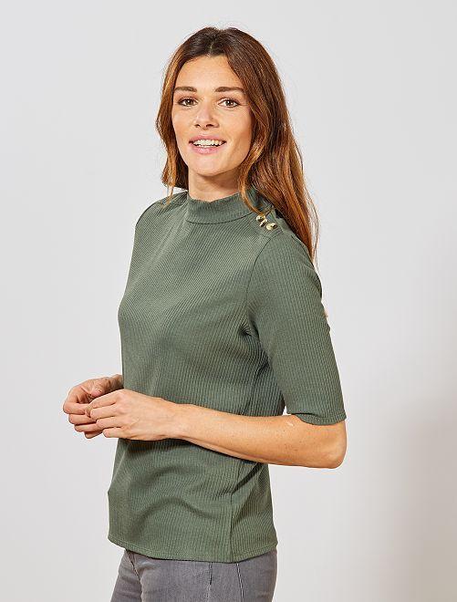 Tee shirt en maille côtelée                                                     vert thym