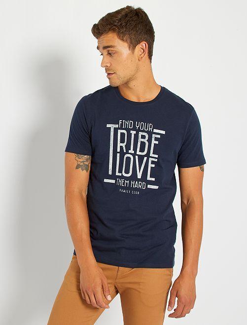 Tee-shirt en maille jersey pur coton                             BLEU