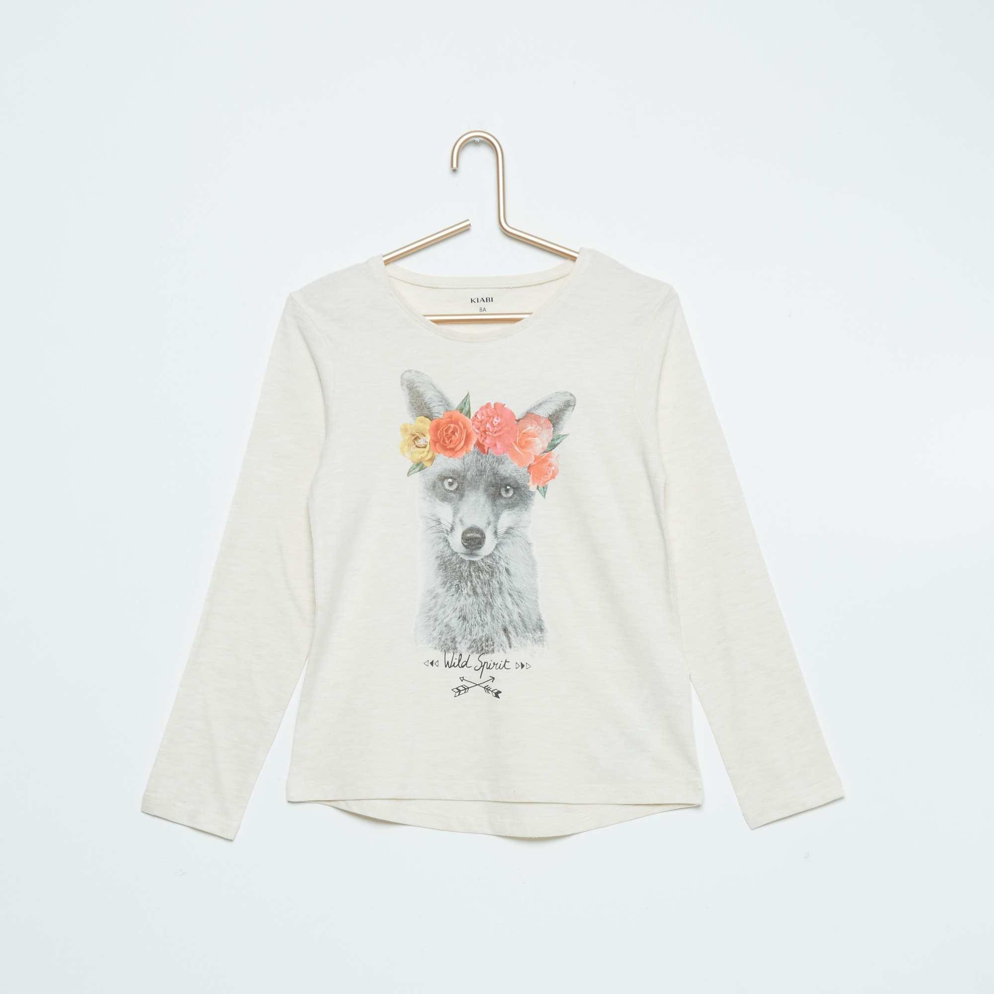 tee shirt en pur coton fille beige kiabi 2 40. Black Bedroom Furniture Sets. Home Design Ideas