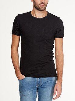 T-shirt basique - Tee-shirt fitted jersey flammé poche poitrine