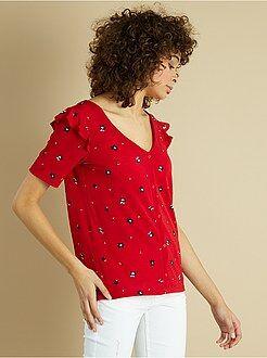 T-shirt, débardeur rouge - Tee-shirt fleuri et épaules volantées