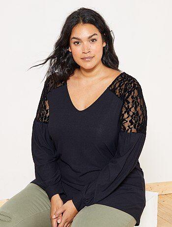Grande taille femme - Tee-shirt fluide avec dentelle - Kiabi