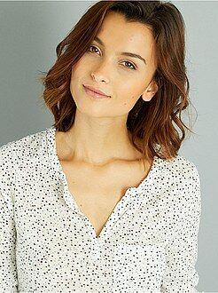 Femme du 34 au 48 Tee-shirt fluide col tunisien