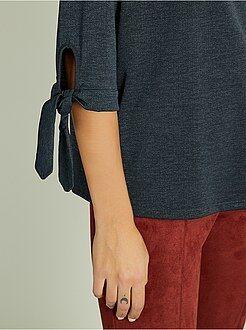 T-shirt manches 3/4 - Tee-shirt fluide et manches à nouer - Kiabi