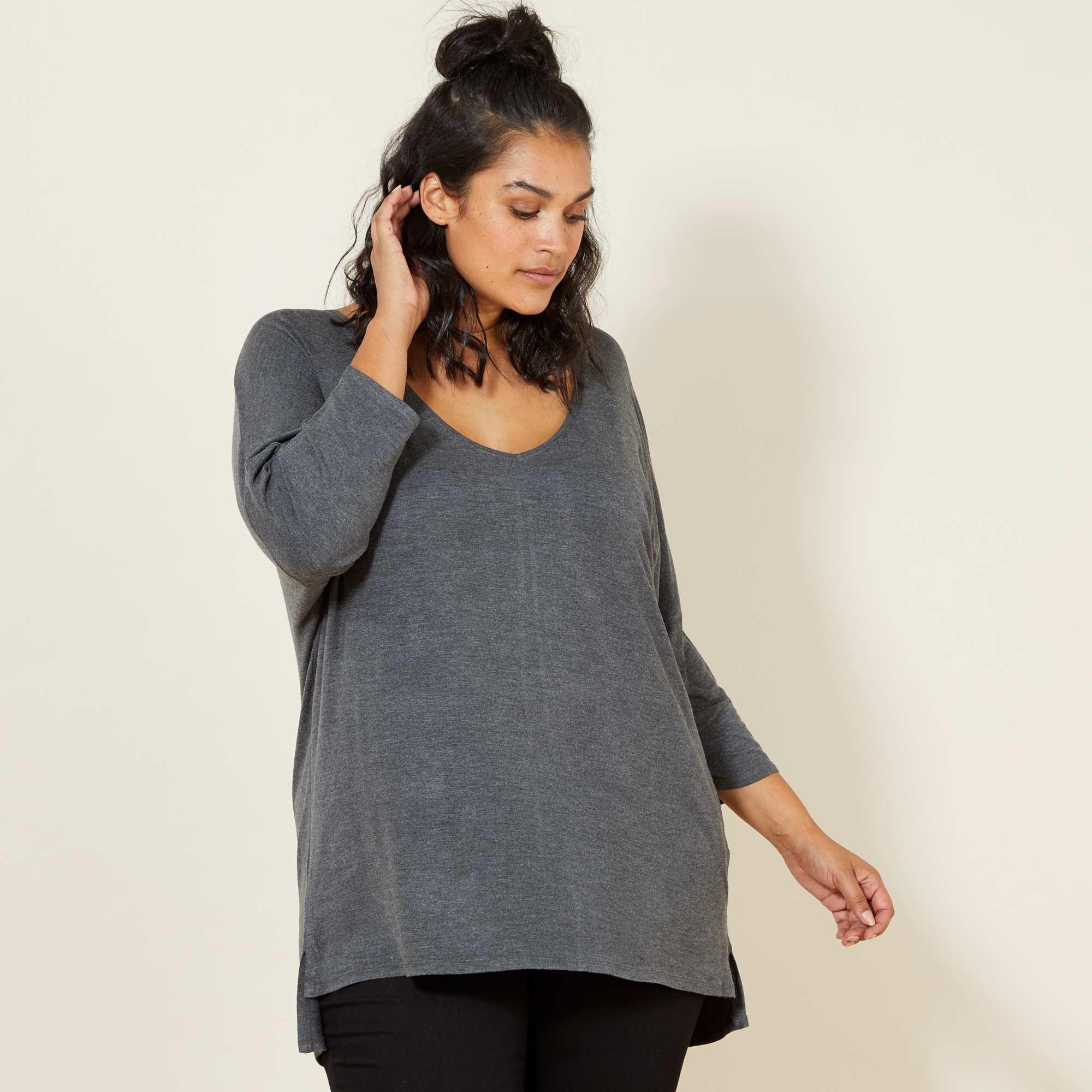 tee shirt fluide manches chauve souris grande taille femme. Black Bedroom Furniture Sets. Home Design Ideas