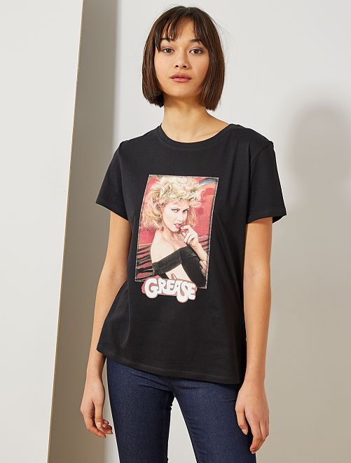 Tee-shirt 'Grease'                             noir
