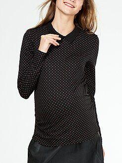 Maternité Tee-shirt grossesse col chemise