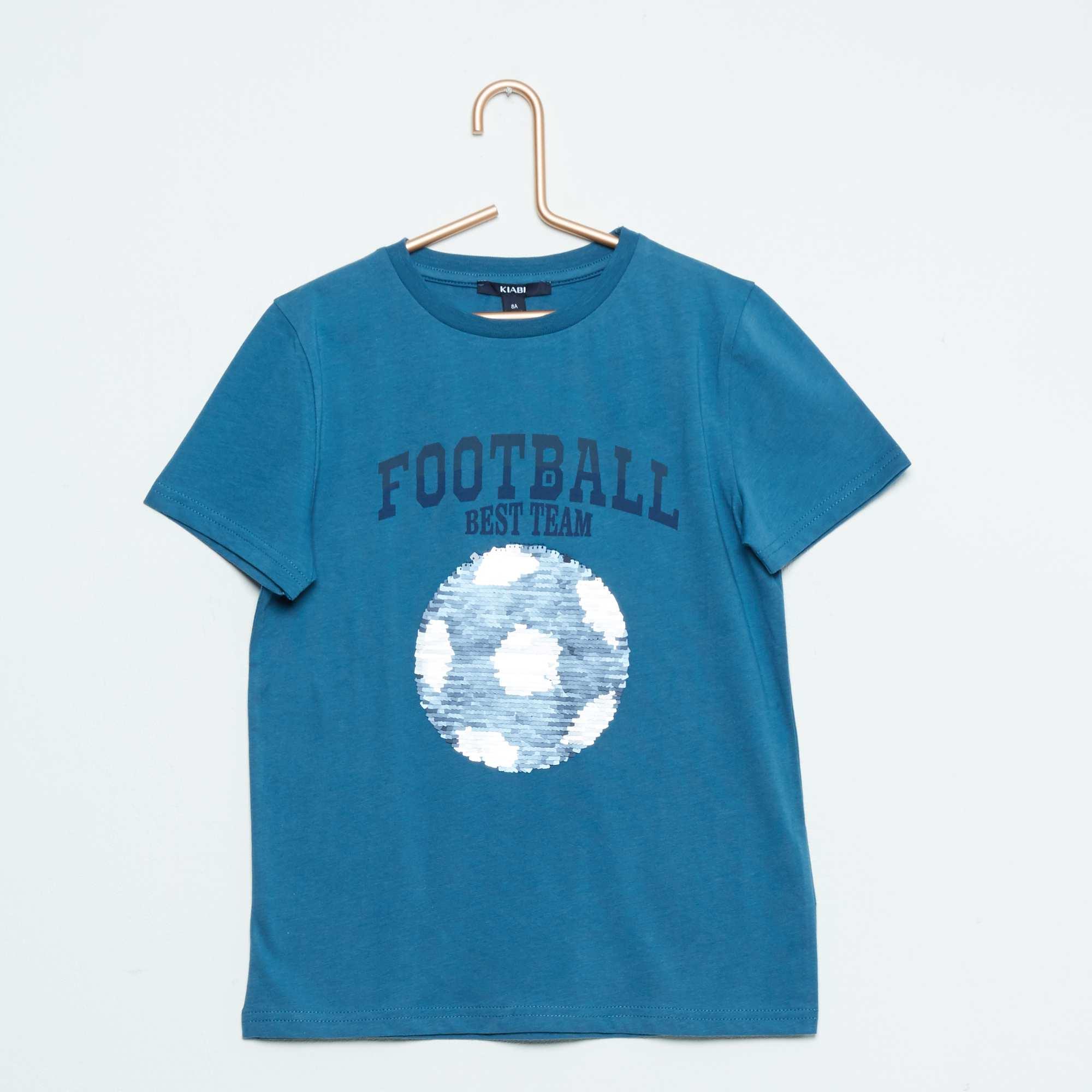 tee shirt imprim sequins r versibles gar on bleu kiabi 7 00. Black Bedroom Furniture Sets. Home Design Ideas