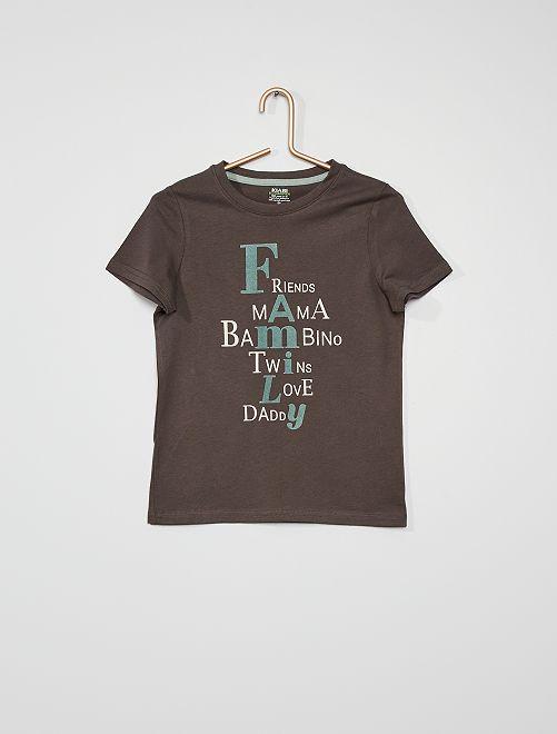 Tee-shirt imprimé avec message                                         gris