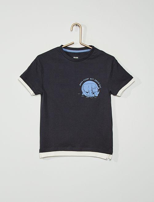 Tee-shirt imprimé                                                                             BLEU