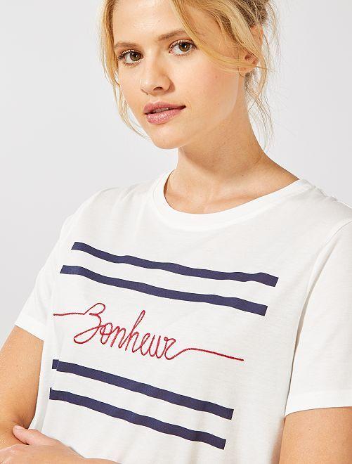 Tee shirt imprimé 'bonheur'                                                                 écru