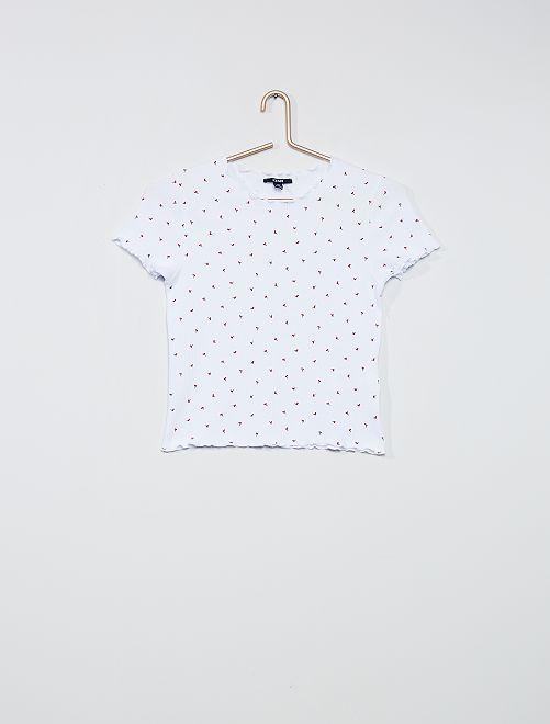 Tee-shirt imprimé cerises                             blanc
