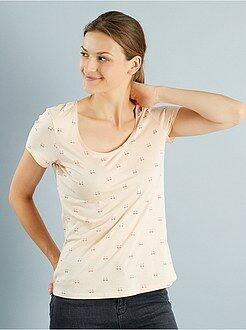 T-shirt, débardeur rose - Tee-shirt imprimé col rond