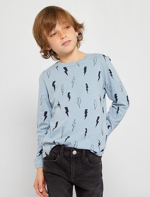 Tee-shirt imprimé 'éclairs'                                                                                                                             bleu