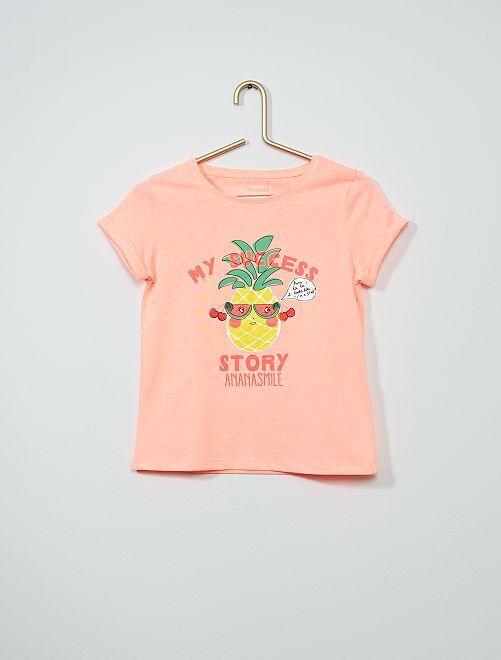 Tee-shirt imprimé éco-conçu                                         rose ananas