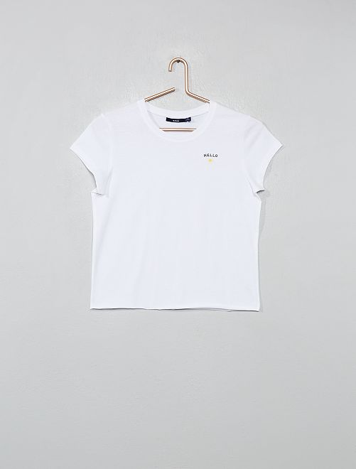 Tee-shirt imprimé 'Hello'                                         blanc