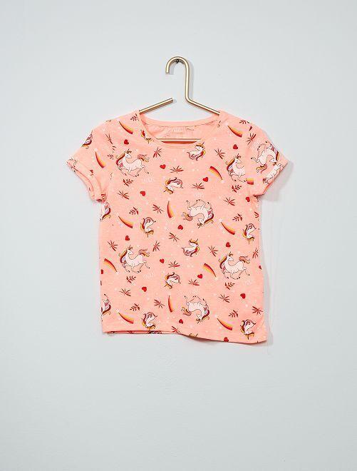 Tee-shirt imprimé 'licorne' éco-conception'                                                                 rose/licorne