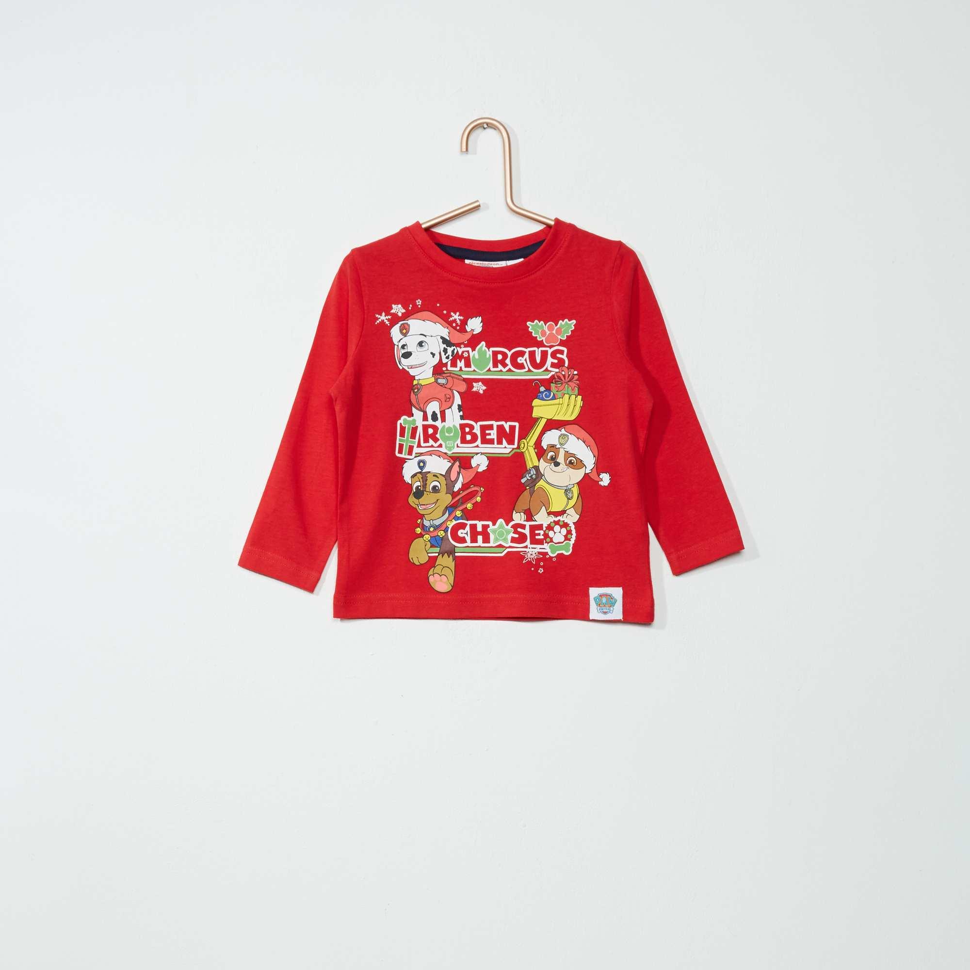 tee shirt imprim 39 pat 39 patrouille no l 39 gar on rouge kiabi 4 00. Black Bedroom Furniture Sets. Home Design Ideas