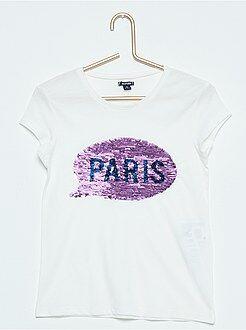 Fille 3-12 ans Tee-shirt imprimé sequins réversibles