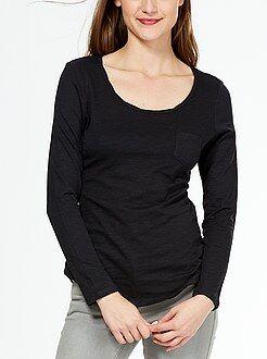 Femme du 34 au 52 Tee-shirt jersey flammé col twisté