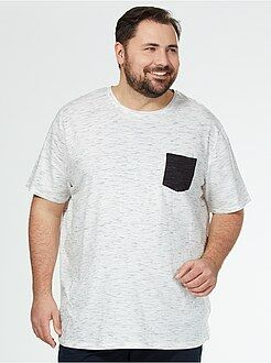 Grande taille homme Tee-shirt jersey poche contrastée