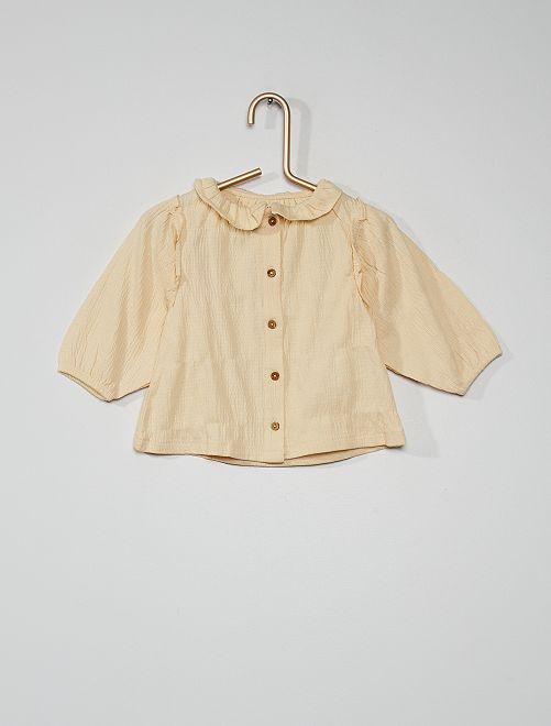 Tee-shirt maille froissée                             écru