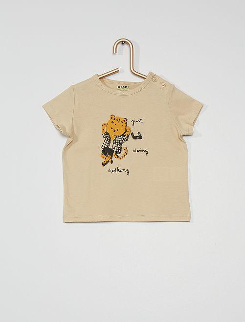 Tee-shirt manches courtes imprimé                                                                                                                                                                 beige