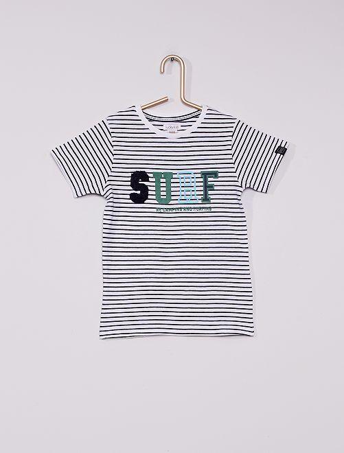 Tee-shirt manches courtes rayé                             BLANC