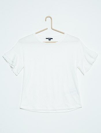 Tee shirt manches courtes volantées
