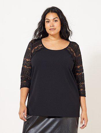 Grande taille femme - Tee-shirt manches en dentelle - Kiabi