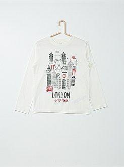 Tee-shirt manches longues en coton imprimé
