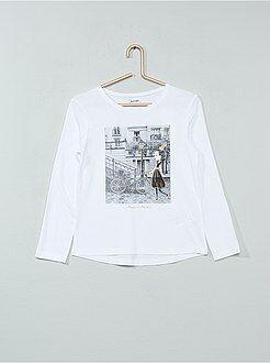 Fille 3-12 ans Tee-shirt manches longues imprimé pailleté