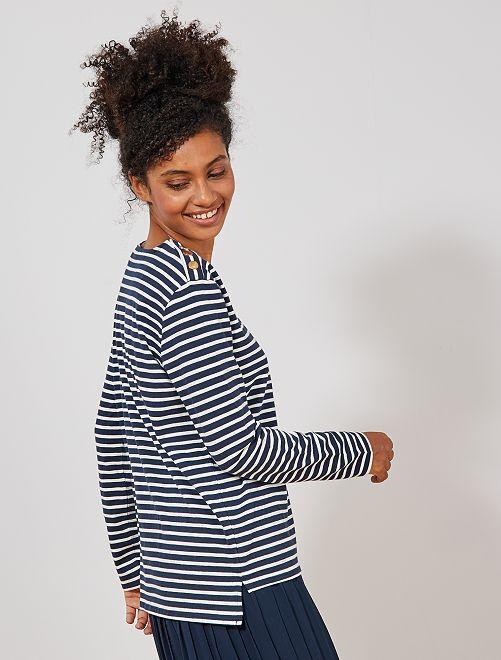 Tee-shirt marinière                                         bleu marine Femme