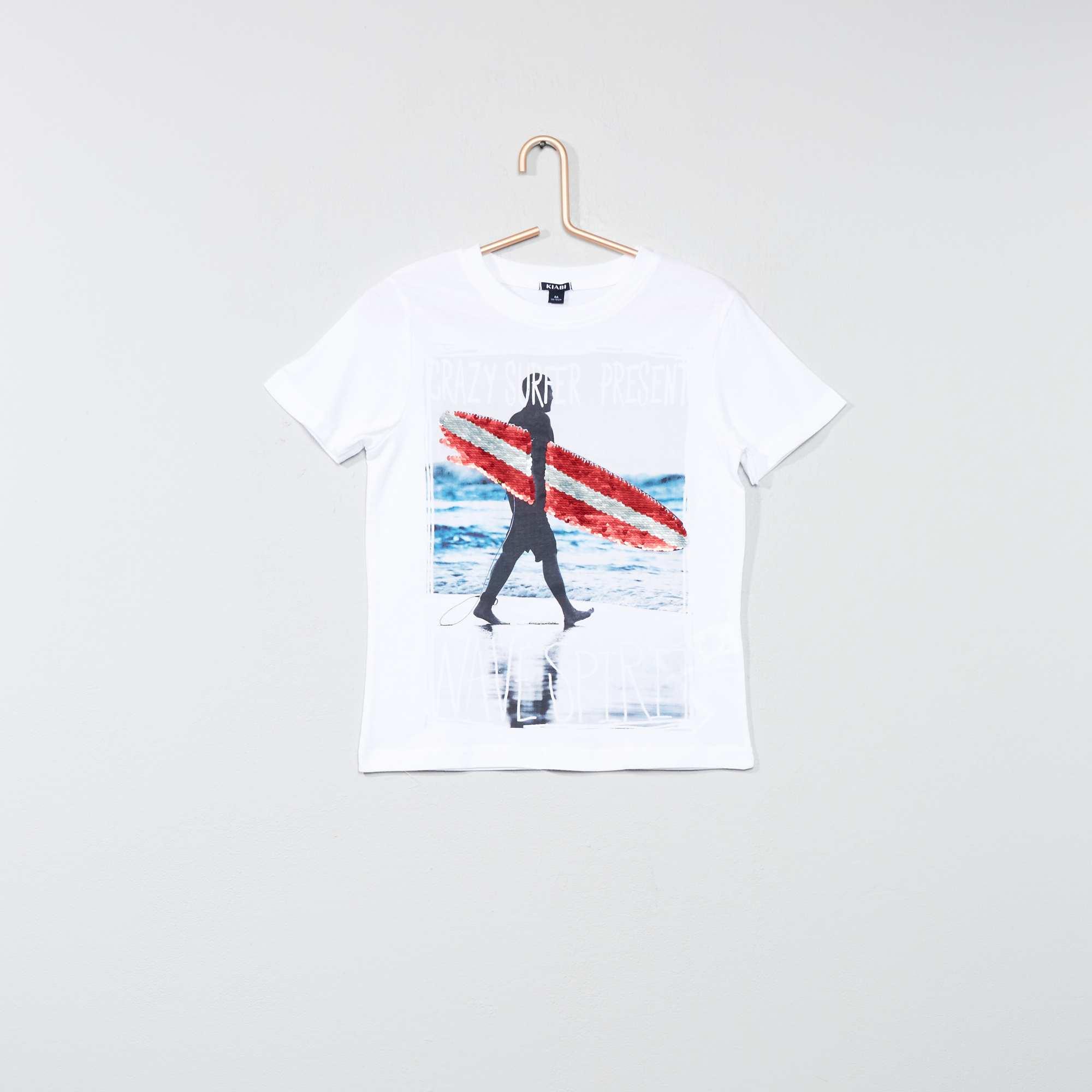 7c35bd8108fc6 Tee-shirt pur coton à sequins réversible Garçon - blanc - Kiabi - 8
