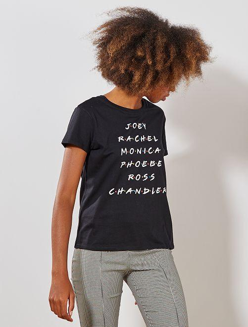 Tee shirt pur coton 'Friends'                             noir