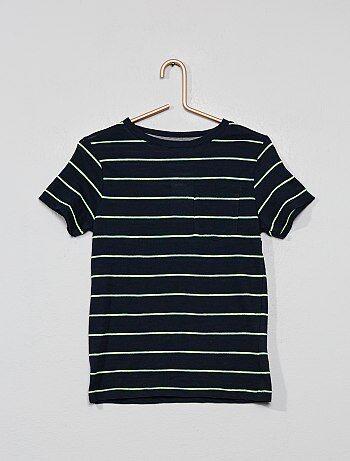 e248e1f4033b8 Tee-shirt rayé en maille flammée - Kiabi