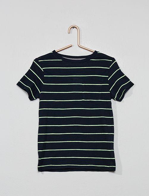 Tee-shirt rayé en maille flammée                                                     bleu marine/vert Garçon