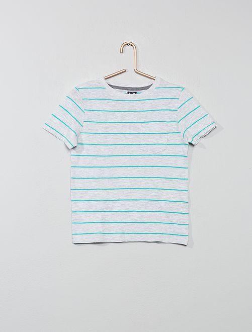 Tee-shirt rayé en maille flammée                                                     gris chiné/vert